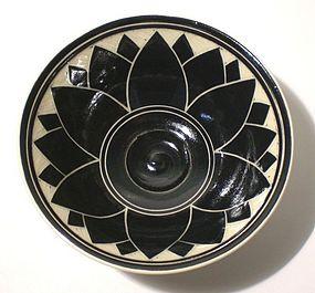 Black & White Lotus Blossom Teabowl (1113tb)