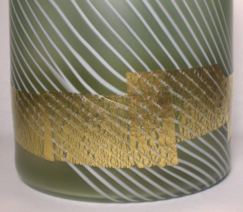 Glass Mizusashi With Gold Accents By Tanaka Tsuneo