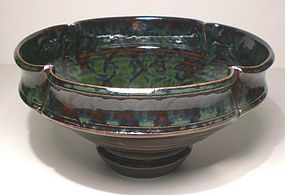 Ameyu Trellis Stamped Lobed Serving Bowl