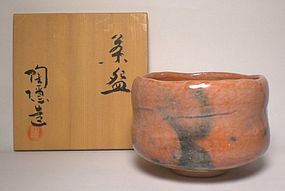 Boxed Aka-Raku Chawan By UnKnown Potter