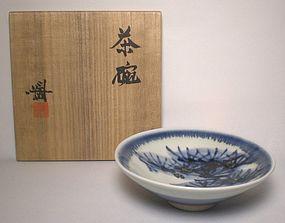 """Blue & White Sometsuke """"Matsu"""" Chawan By Kondo Hiroshi"""