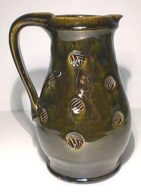 Medieval Green & Temmoku Stamped Pitcher