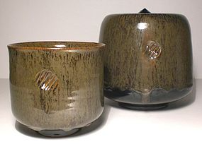 Temmoku & Partridge feather Chawan/Mizusashi Set