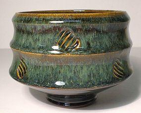 Temmoku & Haiyu Stamped Take-gata Teabowl (1129tb)