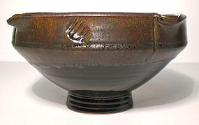 Temmoku & Tetsu-yu Stamped And Altered Bowl