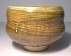 Lg. Iron Yellow Waisted  Hakeme Teabowl (1142tb)