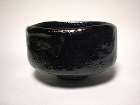 LARGE KURO-RAKU CHAWAN BY KONISHI HEINAI II