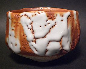 EXHIBITION QUALITY AKA-SHINO CHAWAN BY HAYASHI SHOTARO