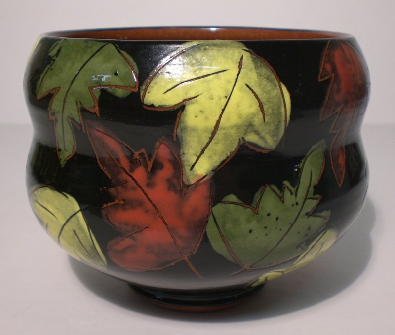 "LARGE TERRA COTTA ""FALLING LEAVES"" TEABOWL (1145tb)"