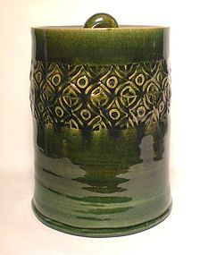 CYLINDRICAL ORIBE STAMPED WATER JAR