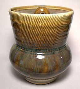 SAFFRON KUSHIME COMBED WATER JAR/ COVERED JAR