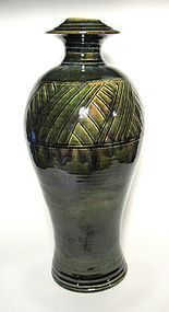 TALL ORIBE VASE WITH INCISED GRASSES DESIGN