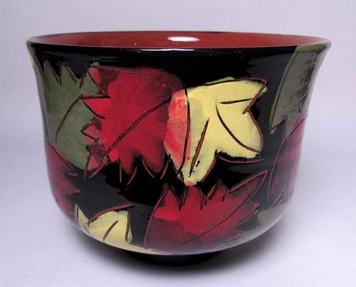 FALLING LEAVES TERRA COTTA TEABOWL  #1 (tb1183)