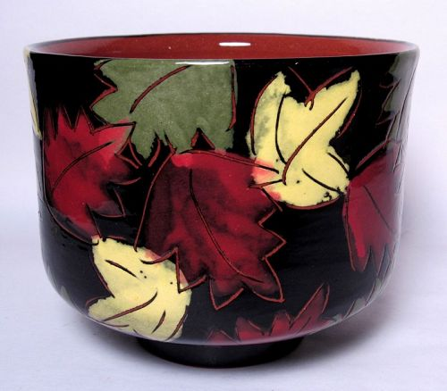 FALLING LEAVES TERRA COTTA TEABOWL #2 (tb1184)