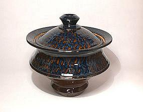 Ameyu and Gosu Blue Saturn Covered Jar