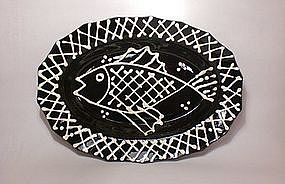 Black & White Slipware Fish Tray