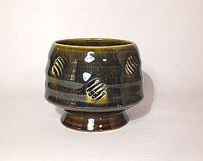 Temmoku & Ash Stamped Teabowl