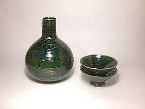 Oribe Style Hakeme Sake Set