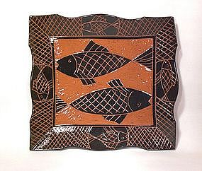 Tebori Carved terra Cotta Lg. Fish Tray
