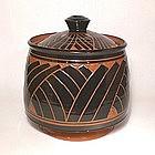 Terra Cotta Tebori Grass Pattern Covered Jar