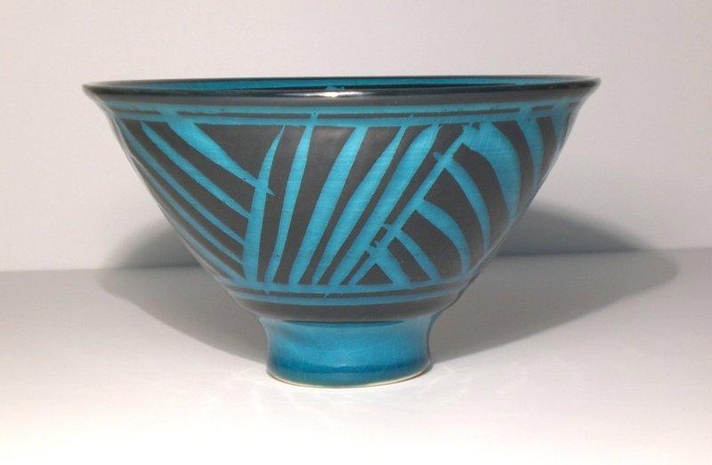 Persian Blue Rozome Grasses Design Teabowl