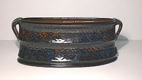 Ame & Cobalt Decorated Oval Serving Piece