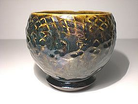 Temmoku and Haiyu Glazed Chawan With Impressed Design
