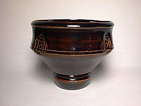 Temmoku Impressed Pedestal teabowl