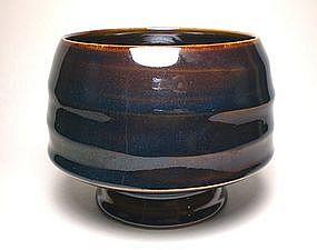Temmoku Glazed Rhytnmos teabowl