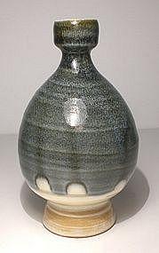 """Ao Glazed """"Imprint"""" Tokkuri Sake Bottle"""