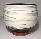 Terra Cotta Black & White Swiped Teabowl