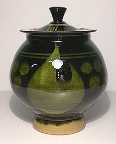 Rich Rozome Style Covered Jar With Two Lids