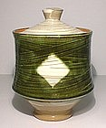 Medieval Green Hakeme Kamon Covered Jar/ Mizusashi