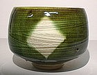 Medieval Green Hakeme Kamon Chawan