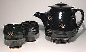 Rich Temmoku Impressed Teapot Set