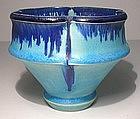 Bleu Electrique Lobed Pedestal Teabowl