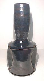 Large temmoku & Haiyu Lobed Kinuta vase