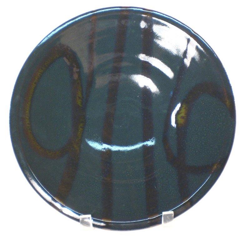 Temmoku & Medieval Green Swirl Plate #2