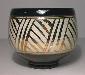 Temmoku Gold Grasses Banded Teabowl