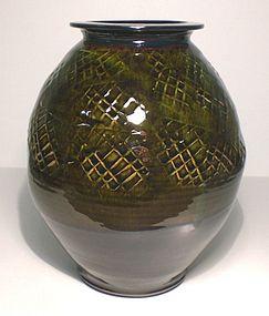 Medieval green & Temmoku Tataki Tsubo
