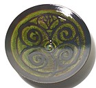 Medieval Green & Temmoku Bloesem V-Bowl