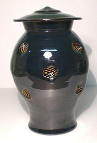 Temmoku & Haiyu Stamped Cap Jar