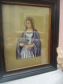 19thc Mixed Bead/Oil Painting St  Barbara