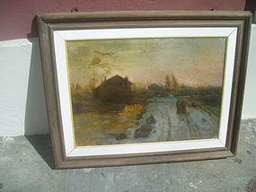 Italian  Oil Painting Impressionist 19thc Landscape