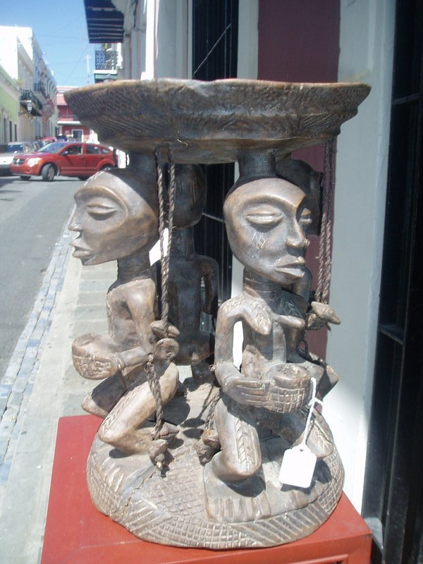 African Carved Figural Divining Stool--Luba