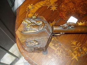 Japanese Bronze Brush Pot 19thc