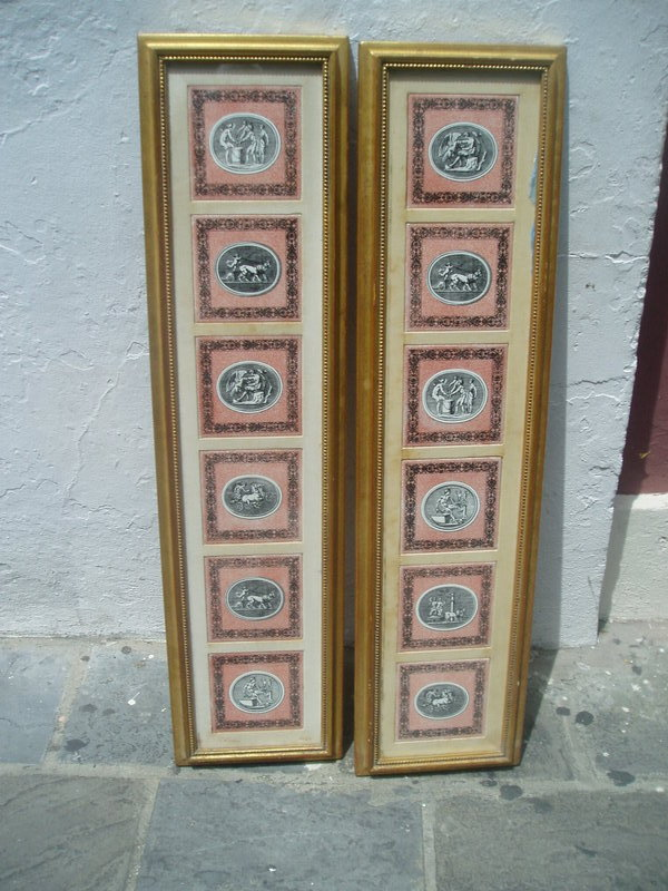 12 Italian Fornasetti Tiles Classic Motif Mounted Sgnd
