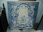 18thc Portuguese Tile Picture-Boy & Greyhound