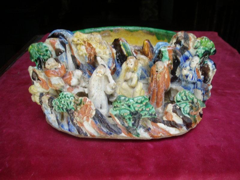 Chinese Glazed Pottery Brush Pot-San Chi 19thc