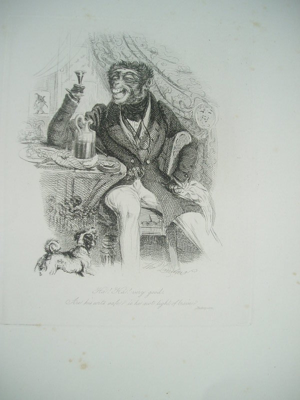 19thc English Etching Monkeyana T.Landseer 1827 Lstd